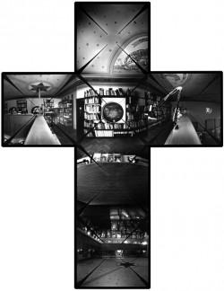Telek Balázs: A Magyar Fotográfiai Múzeum belső tere, Kecskemét, 2000. – Camera obscura keresztpanoráma, horizontálisan és vertikálisan is 360 fokos látószöggel